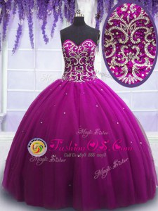 New Style Tulle Sweetheart Sleeveless Lace Up Beading Quinceanera Dress in Fuchsia