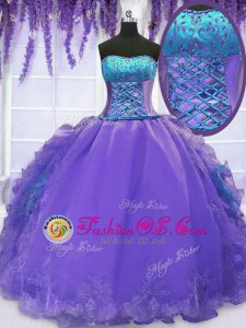Sleeveless Floor Length Embroidery and Ruffles Lace Up 15th Birthday Dress with Lavender