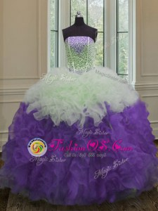 Fantastic White And Purple 15 Quinceanera Dress Military Ball and Sweet 16 and Quinceanera and For with Beading and Ruffles Strapless Sleeveless Lace Up