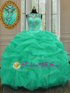 Fine Organza Sleeveless Floor Length Quinceanera Gown and Beading and Ruching