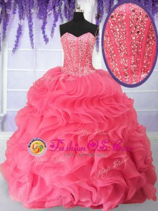 Fashion Floor Length Ball Gowns Sleeveless Rose Pink Quinceanera Gowns Lace Up
