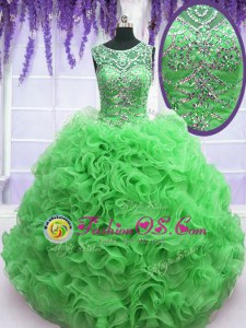 Glorious Scoop Green Sleeveless Beading and Ruffles Floor Length Quinceanera Gown