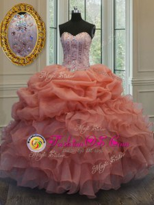 Pick Ups Ball Gowns Quinceanera Gown Orange Red Sweetheart Organza Sleeveless Floor Length Lace Up