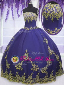 Dazzling Tulle Strapless Sleeveless Zipper Appliques Quinceanera Dress in Purple