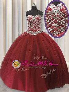 Sleeveless Floor Length Beading and Sequins Lace Up 15th Birthday Dress with Red