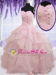 Dramatic Sleeveless Floor Length Ruffled Layers Lace Up Quinceanera Dresses with Baby Pink
