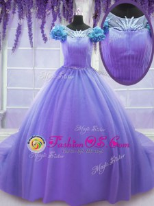 Tulle Scoop Short Sleeves Court Train Lace Up Hand Made Flower Quince Ball Gowns in Lavender