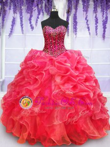 Graceful Sleeveless Lace Up Floor Length Beading and Appliques and Ruffled Layers Vestidos de Quinceanera