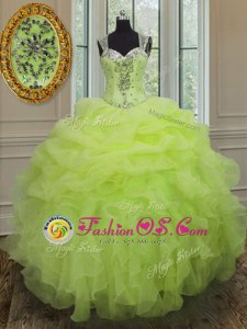 Fashion Sleeveless Beading and Ruffles Lace Up Vestidos de Quinceanera