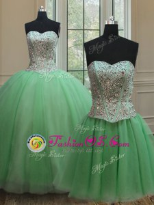 Trendy Three Piece Sweetheart Sleeveless Sweet 16 Quinceanera Dress Floor Length Beading Tulle
