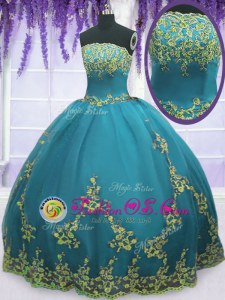 Comfortable Teal Sleeveless Tulle Zipper Sweet 16 Dress for Military Ball and Sweet 16 and Quinceanera