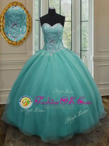 Sleeveless Floor Length Beading Lace Up Quinceanera Gowns with Turquoise