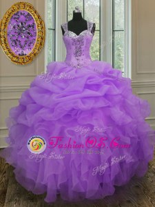 Edgy Lavender Ball Gowns Straps Sleeveless Organza Floor Length Zipper Beading and Ruffles Sweet 16 Quinceanera Dress