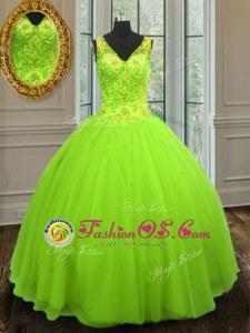 Affordable Straps Sleeveless Floor Length Beading Zipper Sweet 16 Quinceanera Dress