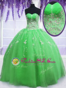 Excellent Sleeveless Organza Floor Length Lace Up Sweet 16 Dress in for with Beading and Embroidery