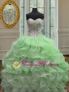 Sleeveless Organza Lace Up Quince Ball Gowns for Military Ball and Sweet 16 and Quinceanera