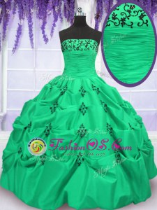 Fashionable Pick Ups Strapless Sleeveless Lace Up 15 Quinceanera Dress Taffeta
