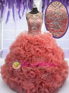 Fabulous Straps Blue Ball Gowns Beading and Ruffles 15 Quinceanera Dress Zipper Organza Sleeveless Floor Length