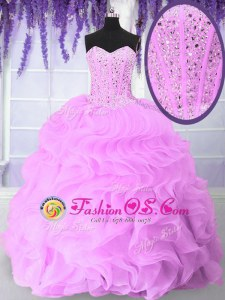High End Sweetheart Sleeveless Organza Sweet 16 Quinceanera Dress Beading and Ruffles Lace Up