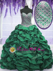 Captivating Floor Length Dark Green Quince Ball Gowns Taffeta Sleeveless Beading and Sequins and Pick Ups