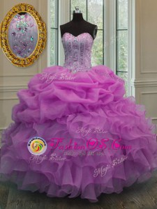 Cute Sweetheart Sleeveless Sweep Train Lace Up Quinceanera Gown Lavender Organza