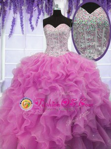 Romantic Sequins Rose Pink Sleeveless Organza Lace Up Quince Ball Gowns for Military Ball and Sweet 16 and Quinceanera