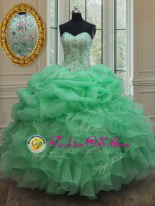 Apple Green Lace Up Strapless Beading and Ruffles and Pick Ups Quinceanera Dress Organza Sleeveless