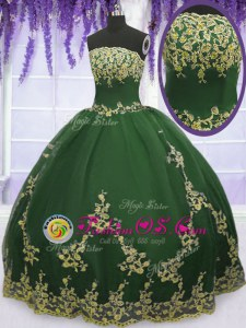 Dark Green Tulle Zipper 15th Birthday Dress Sleeveless Floor Length Appliques