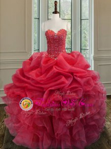 Coral Red Ball Gowns Sweetheart Sleeveless Taffeta Floor Length Lace Up Beading and Pick Ups Sweet 16 Quinceanera Dress