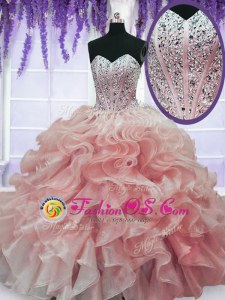 Sweetheart Sleeveless Lace Up Quinceanera Gowns Watermelon Red Organza