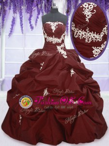 Modern Burgundy Strapless Lace Up Appliques and Pick Ups Sweet 16 Quinceanera Dress Sleeveless