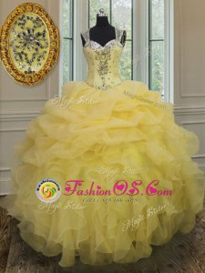 Great Light Yellow Ball Gowns Organza Straps Sleeveless Beading and Ruffles Floor Length Zipper Quinceanera Gowns