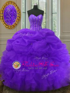Best Selling Pick Ups Purple Sleeveless Organza Lace Up Quinceanera Dress for Military Ball and Sweet 16 and Quinceanera