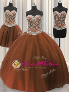 Three Piece Brown Sleeveless Floor Length Beading and Sequins Lace Up Vestidos de Quinceanera