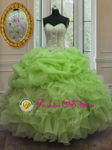 Ball Gowns Ball Gown Prom Dress Apple Green Sweetheart Organza Sleeveless Floor Length Lace Up