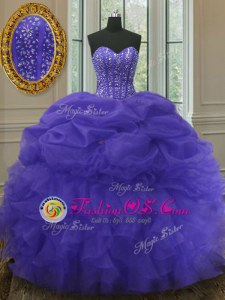 Traditional Floor Length Lavender Quince Ball Gowns Organza Sleeveless Beading and Ruffles