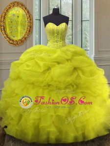 Beading and Ruffles and Pick Ups Quinceanera Gowns Yellow Lace Up Sleeveless Floor Length