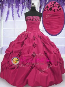 Hot Pink Lace Up Strapless Embroidery and Pick Ups 15th Birthday Dress Taffeta Sleeveless