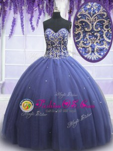 Great Beading Quinceanera Gowns Purple Lace Up Sleeveless Floor Length