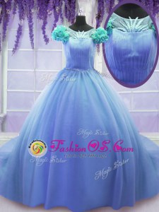 Scoop Ball Gowns Short Sleeves Blue Quince Ball Gowns Court Train Lace Up