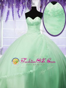 High End Lace Up Sweetheart Appliques Quince Ball Gowns Tulle Sleeveless