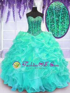 Floor Length Turquoise Sweet 16 Quinceanera Dress Sweetheart Sleeveless Lace Up
