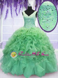 Colorful V-neck Lace Up Beading and Ruffles Quinceanera Dress Sleeveless