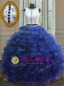 Enchanting Royal Blue Sweet 16 Dresses Military Ball and Sweet 16 and Quinceanera and For with Appliques and Ruffles Scoop Sleeveless Clasp Handle