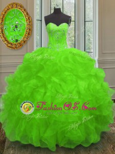 Fine Lace Up Sweetheart Beading and Embroidery and Ruffles Sweet 16 Quinceanera Dress Organza Sleeveless
