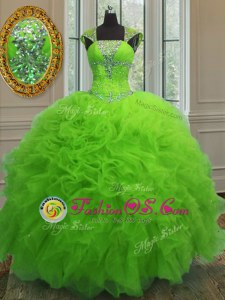 Wonderful Straps Cap Sleeves Floor Length Beading and Ruffles and Sequins Lace Up 15th Birthday Dress
