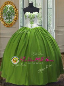 Fancy Olive Green Ball Gowns Embroidery 15th Birthday Dress Lace Up Taffeta Sleeveless Floor Length