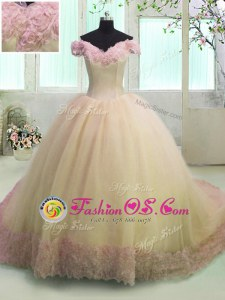 Off The Shoulder Short Sleeves Organza Sweet 16 Dress Hand Made Flower Court Train Lace Up
