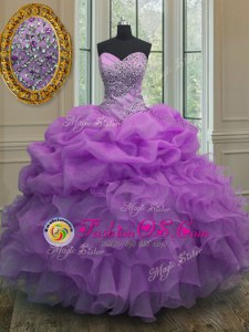 Beading and Ruffles and Pick Ups Vestidos de Quinceanera Lavender Lace Up Sleeveless Floor Length