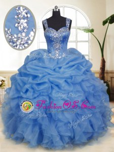 Modern Blue Sleeveless Floor Length Beading and Ruffles and Pick Ups Zipper Quinceanera Gowns